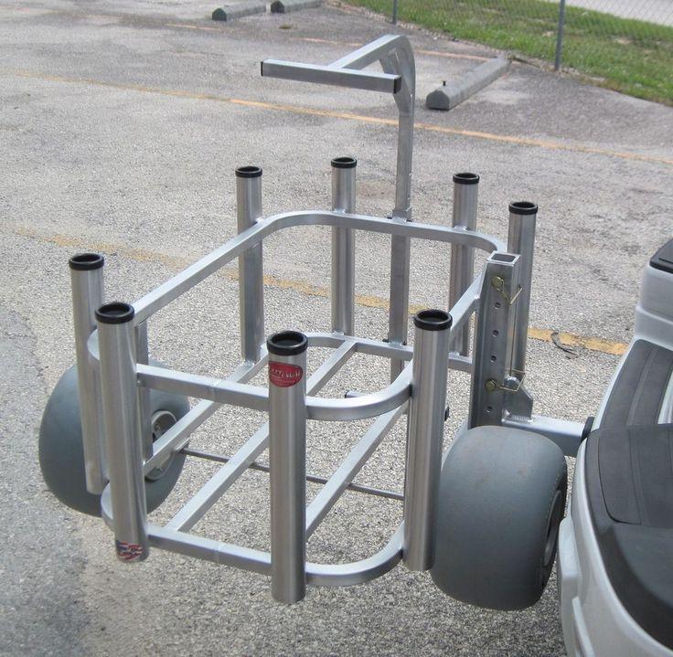 Fishing Cart Beach Cart Rod Rack Cooler Holder Wheeleez Receiver Arm USA Made!