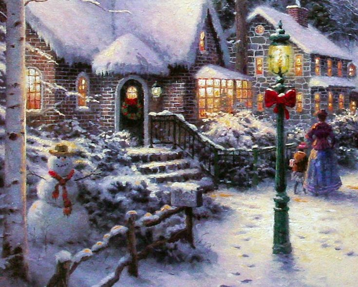 victorian christmas scenes | Village Christmas (Christmas Cottage VIII) by Thomas Kinkade 12x16 ...