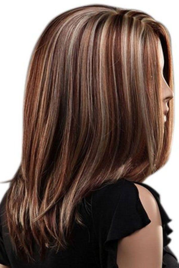 Brown Highlight Middle Part Bob Medium Straight Synthetic Wig Hair Styles Hair Color Highlights Hair Highlights