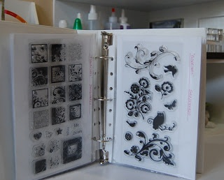 Acrylic Stamp Storage - I don't have nearly this many stamps, but storing them inside page covers in 3 ring binders is a really good idea.