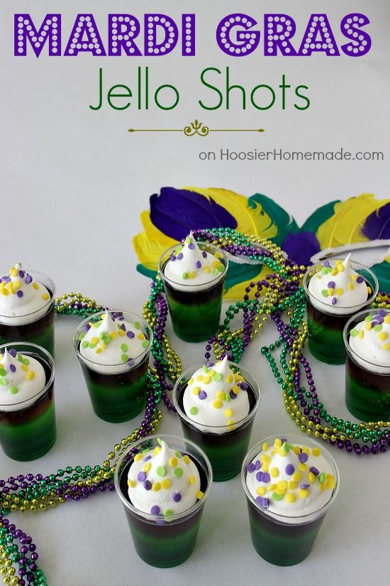 Mardi Gras Jello Shots | Recipe on HoosierHomemade.com