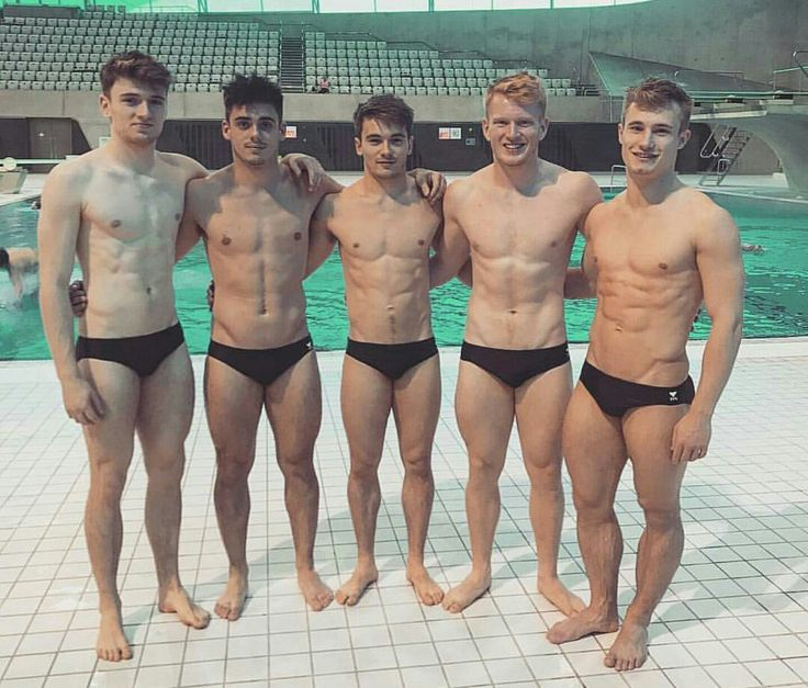 Brit divers, including gay boy Chris Mears, second from left, and his diving partner Jack  Laugher on the right