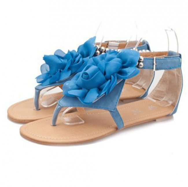 Flower Thong Sandals With Beads Blue