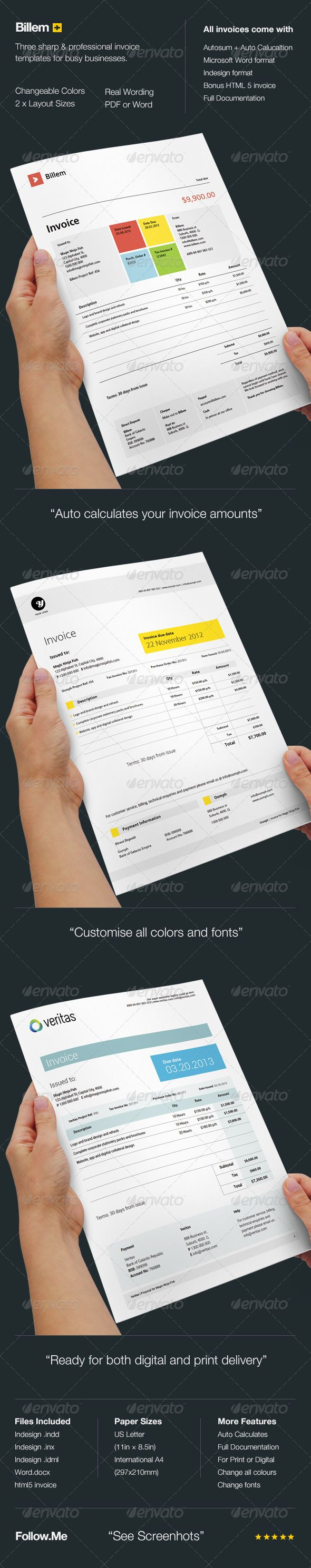 Billem - Invoice Templates $6