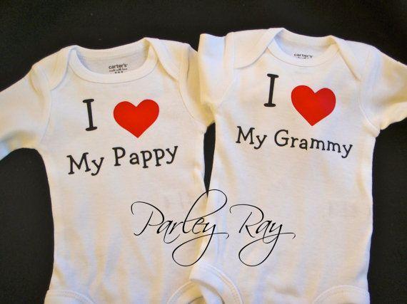 Custom Baby Onesie/ Bodysuit I Love My Pappy/ Grammy by ParleyRay, $20.00