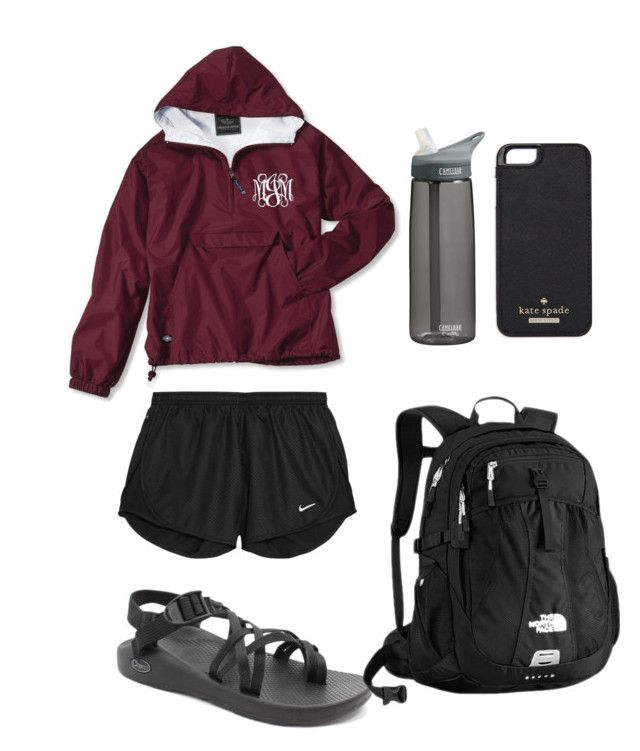 """Rainy school day"" by zoe35straughn ❤ liked on Polyvore featuring Chaco, NIKE, The North Face, CamelBak, Kate Spade, women's clothing, women's fashion, women, female and woman"