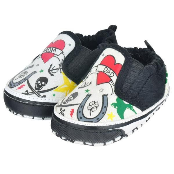 Tattoo Slip On Baby Shoes from My Baby Rocks - cool classic tattoo designs - skulls, hearts, horseshoes, anchors