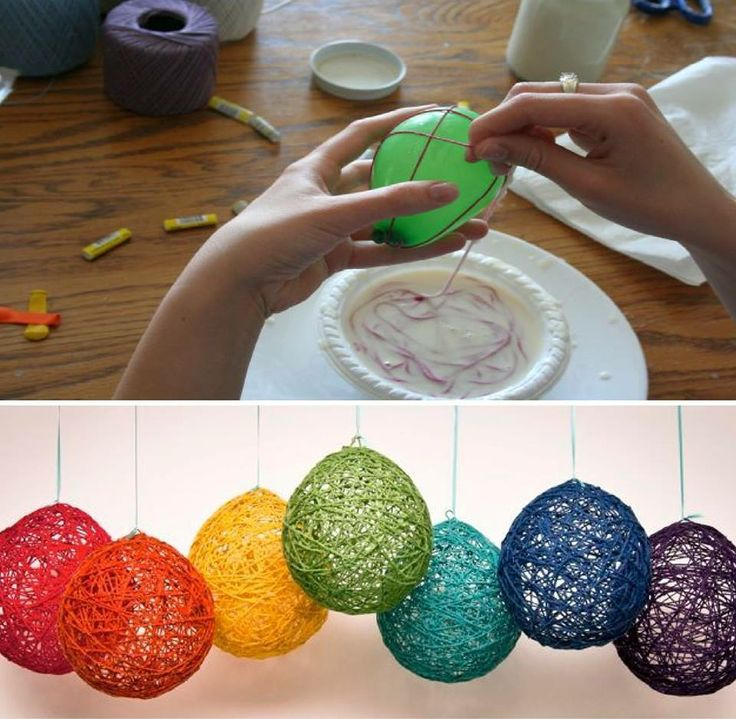 Balloons, Glue, Leftover Wool, PoP and Hang!...  Use Mod Podge or Elmer's Glue mixed with a little water  leave the knotted end of the balloon outside of the yarn while wrapping it. then when you pop the balloon, you can tug it out. Add some potpourri hang in a closet smells great