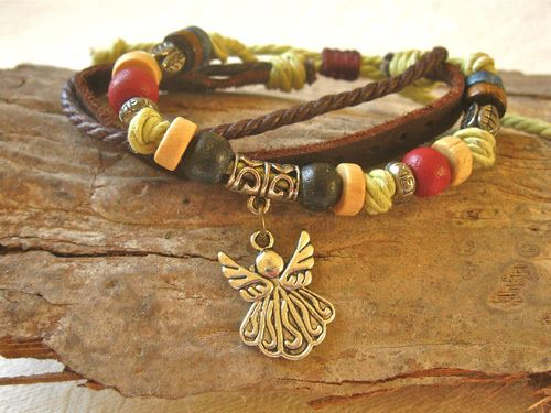 Guardian angel bracelet ~ NaturalSoul. A unique travelling companion and a gift with soul for good luck on a journey