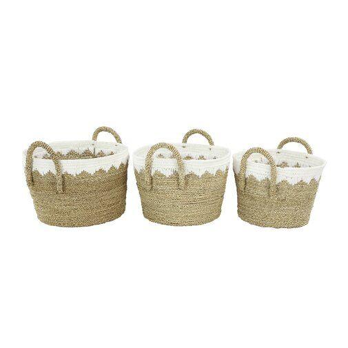Round 3 Piece Wicker Rattan Basket Set Basket Sets Wicker Baskets With Handles Seagrass Basket