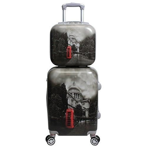 Black White Grey London England Phonebooth Theme Hardtop Luggage UK United Kingdom Great Britian Parliament Themed Pattern Upright Rolling Lightweight