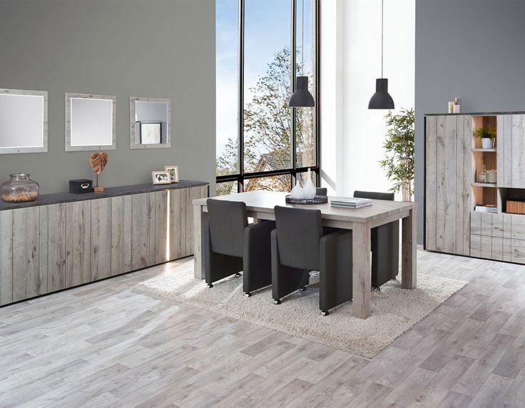 salle manger industrielle couleur chne gris et marbre nera - Salle A Manger Gris Anthracite