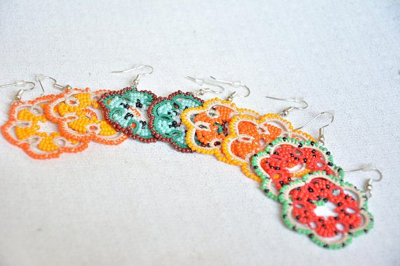 Lace Earrings Citrus Orange Grapefruit Water-Melon Summer