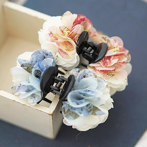 New Arrival Chiffon Double Color Flower Tiny Hair Claw for Girls