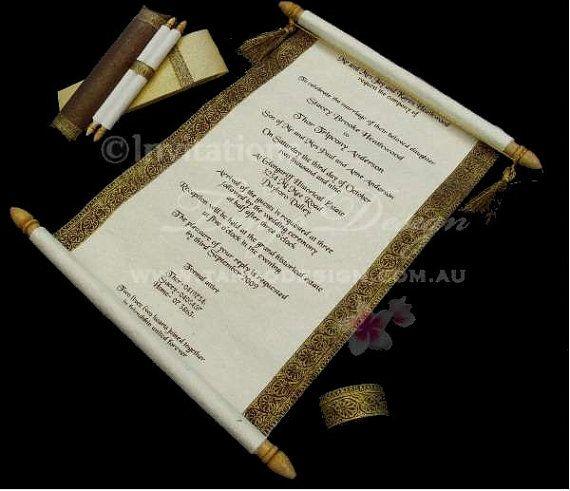 29 best invitations images on pinterest handmade wedding handmade wedding invitations ancient scroll card invites sample stopboris Image collections