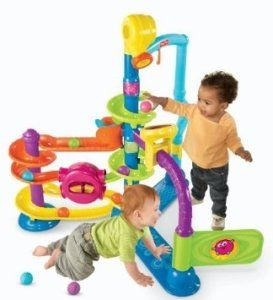 Fisher-Price Cruise Groove Ballapalooza Cruise and Groove Ballapalooza is a great grow-with-me toy that is sure to engage baby. Sitting baby can drop balls in the lower ramps or crawl through the gate or arch.  http://awsomegadgetsandtoysforgirlsandboys.com/cool-toys-toddlers/