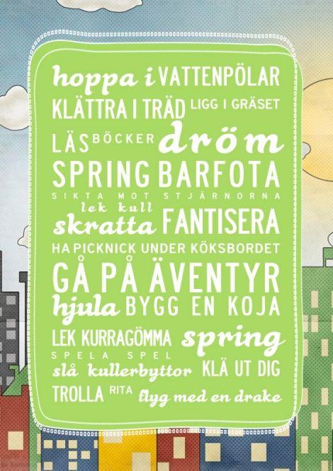 Glada ord for coola killar och tjejer med en vintage seriebakgrund! A3 på Nordic Design Collective