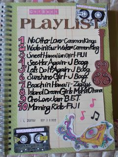 I love this Smash Book page of writing down your current favorite songs or what's on your playlist. Great idea.