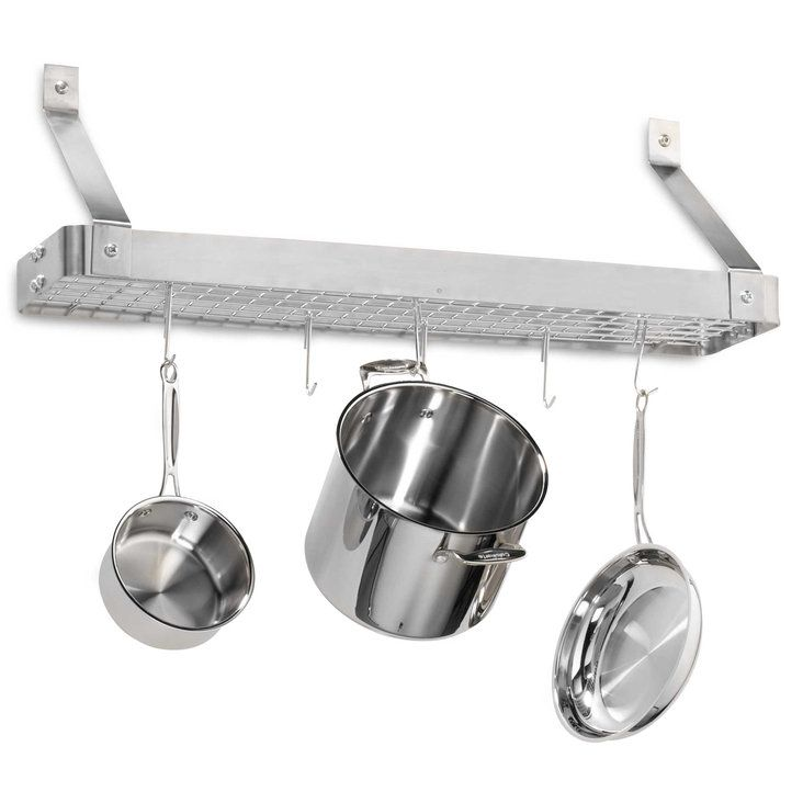 Full stainless steel pot rack plus mounting hooks: great for kitchen organization.