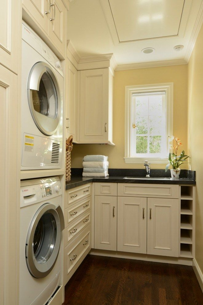 Superb Stackable Washer And Dryer decorating ideas for Laundry Room Craftsman design ideas with Superb built-in storage casement