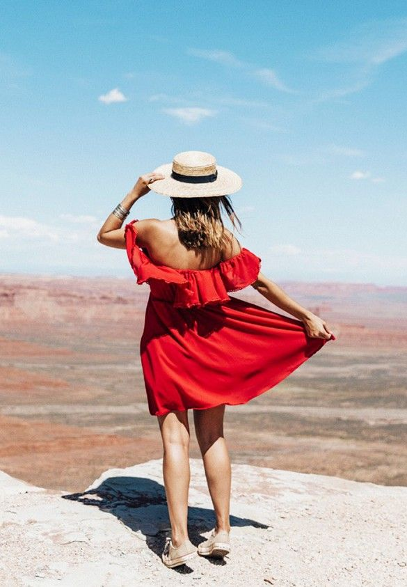 Straw hat, off the shoulder dress, and sneakers