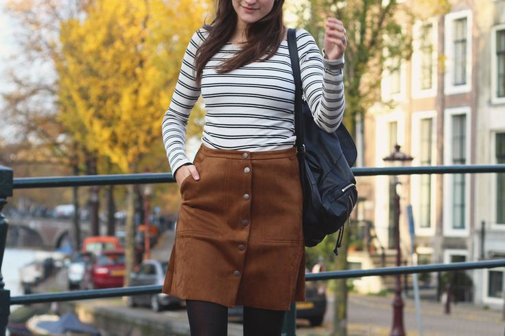 Fashiable, outfit, fashion, blogger, Amsterdam, Lindex skirt, H&M backpack, ZARA striped top