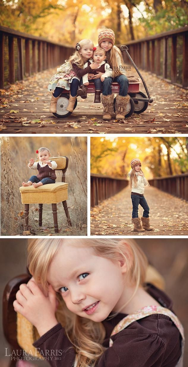 Such a beautiful Fall photo shoot!.. Love the wagon idea with the kiddos. That idea would work in a park, backyard, anyplace!.. I may have to find an old wagon to buy for photos of my grandkids. Love this!.. © 2012 Laura Farris Photography