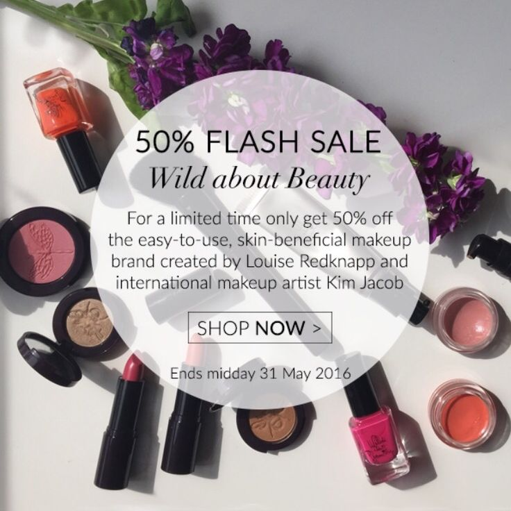 Say what!? Flash sale! To celebrate MyShowcase 4th birthday get 50% off Wild About Beauty makeup until midday on 31 May!  ➕spend over £30 on Wild About Beauty and get the make-up bag including 3 professional makeup brushes for powder, eyeshadow and liner worth £20 for FREE!  Shop the full range: http://www.myshowcase.com/brand/wild_about_beauty?stylist=33128