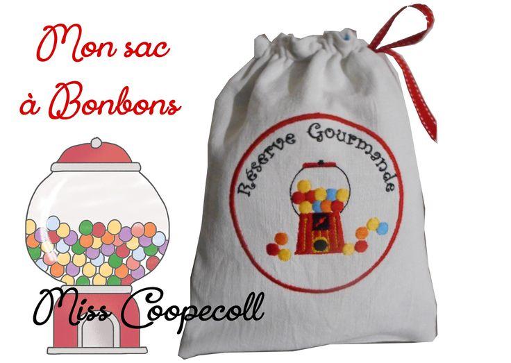 """Sac à bonbons brodé """"Ma réserve gourmande"""" : Autres sacs par miss-coopecoll"""