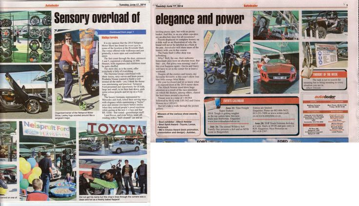 A big thank you to Matthys Ferreira for the great article about the #MotorShow2014