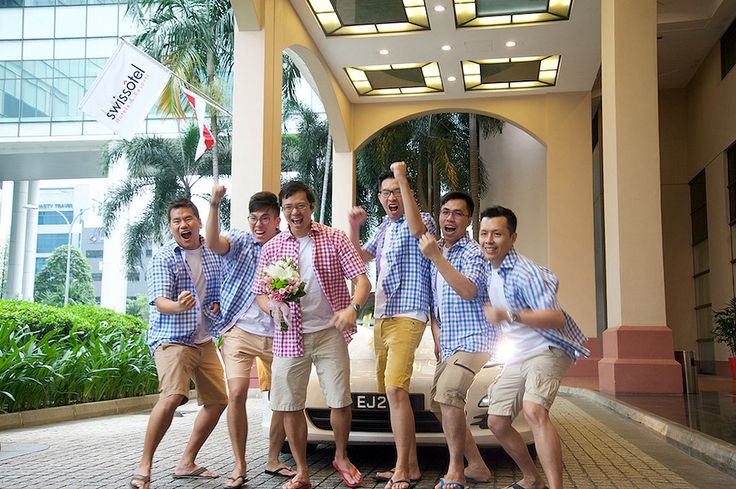 Groom and brothers in short trousers!