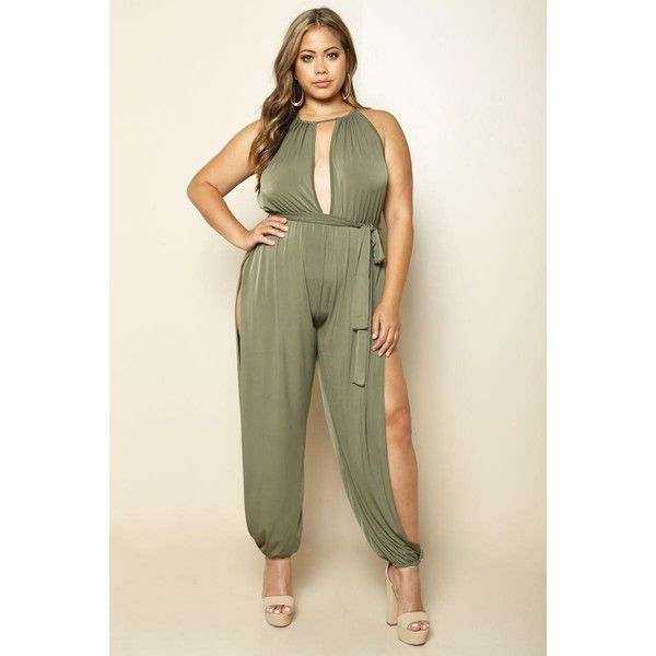 SUMMER QUEEN PLUS SIZE JUMPSUIT ($28) ❤ liked on Polyvore featuring jumpsuits, summer jumpsuits, sexy jumpsuits, brown jumpsuit, loose fit jumpsuit and plus size jump suits