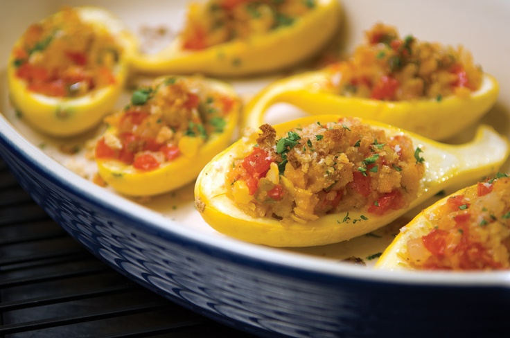 Garden-stuffed yellow squash -- the site has a recipe that isn't gluten-free/vegan. simply use all your favorite stuffing vegetables! :) *non-vegan and gluten-free recipes serve as great inspiration, dont they?!*