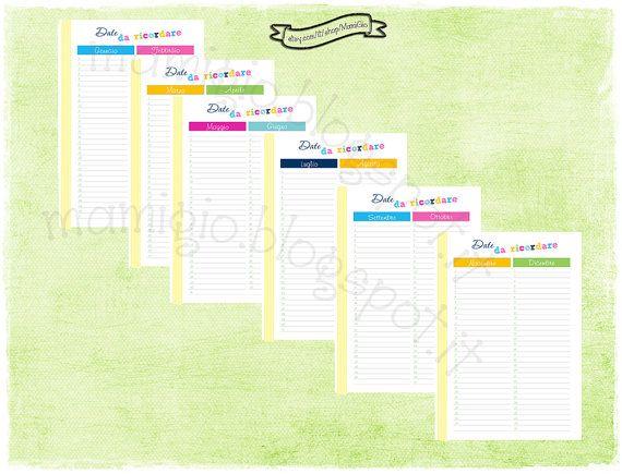 """Refill """"Date da ricordare"""", tema arcobaleno   #refill #planner #filofax"""