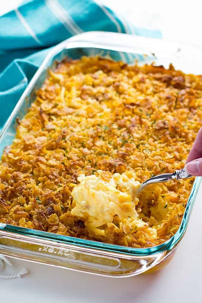 Cheesy Hashbrown Casserole The Salty Marshmallow Recipe Hashbrown Casserole Easy Hash Brown Casserole Cheesy Hashbrown Casserole