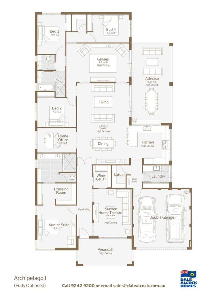 Archipelago Floorplan- Dale Alcock... would make the wine cellar a mini library