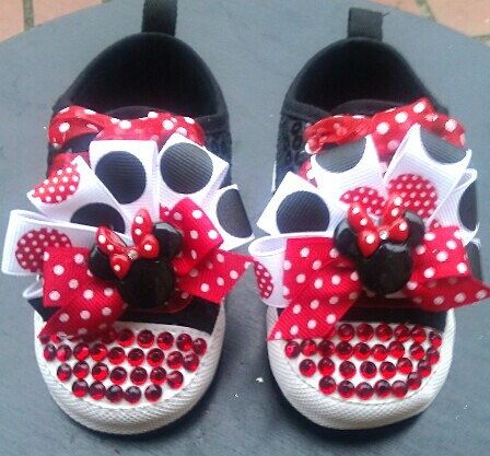 Minnie Mouse Nursery | Minnie Mouse Rhinestone Bling Crib Shoes by PinkToesAndHairBows, $30 ...