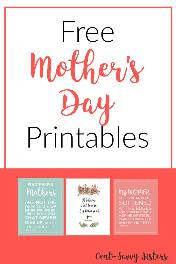 Mother's Day Printables - Cent Savvy Sisters  These free Mother's Day printables are so cute! Let your mom know you love her without  breaking the bank. Click through to download these!