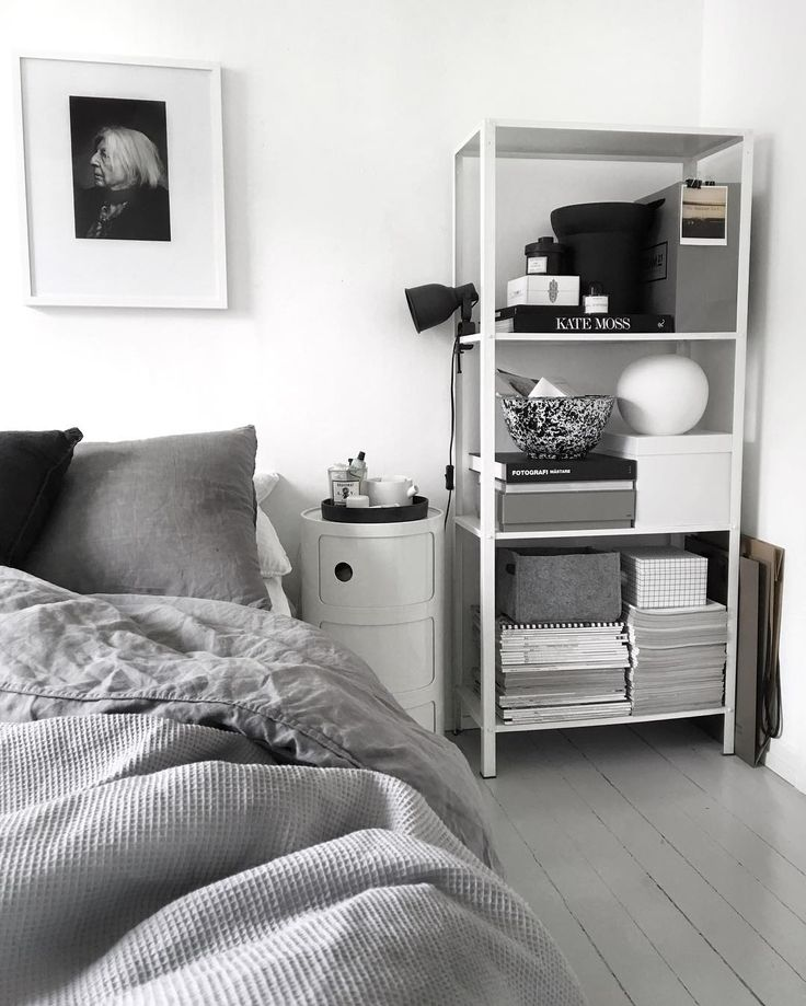 Ikea 'Hyllis' metallic shelf in bedroom by @49kvadrat