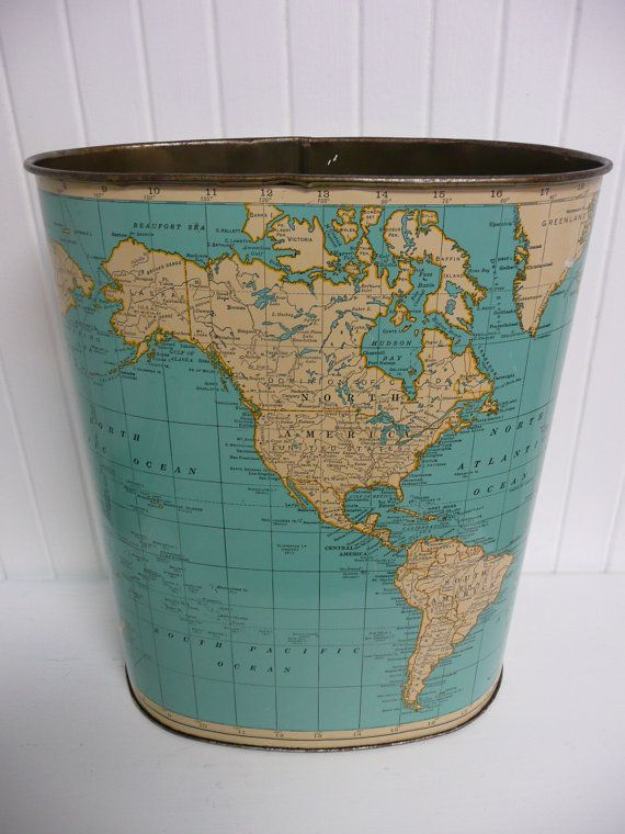 Merveilleux 1960s Metal Wastebasket Trash Can, Turquoise Map Of The World   Vintage  Travel Trailer And