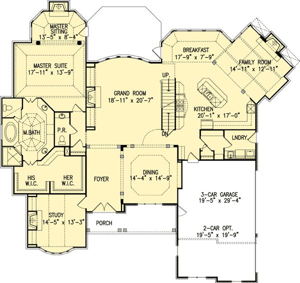 Plan 15611ge beautiful master down house plan for 2 story house plans master down