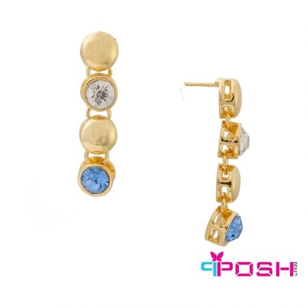 - Fashion earrings - Gold toned  - Gold toned beads with alternating white and blue stones - Push backings - Dimensions: 3cm length 0.75 cm width