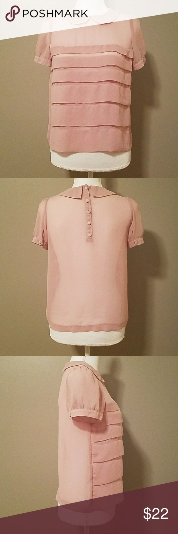 """Topshop Petite Blush Blouse Cute collared blouse with ruffled front Gently used excellent condition  Women's Petite Size 6 Length 22.5"""" Bust 36"""" Clean smoke free home Topshop PETITE Tops Blouses"""