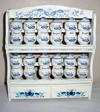 Vintage Blue Onion Japan spice set. Mother had one of these, just gave it to my younger sister...she cried!