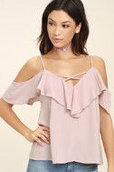 Put on your favorite song and lose yourself in the music in the Sing It Now Blush Pink Off-the-Shoulder Top! Lightweight poly falls from adjustable spaghetti straps into a crisscrossing V-neckline and darted, off-the-shoulder bodice with a ruffled flounce. Relaxed, wide-cut bodice.