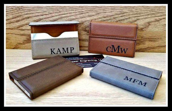 Business Card Holder Leather Custom Engraved Boss Gift Etsy In 2021 Leather Business Card Holder Corporate Gifts Leather Business Cards