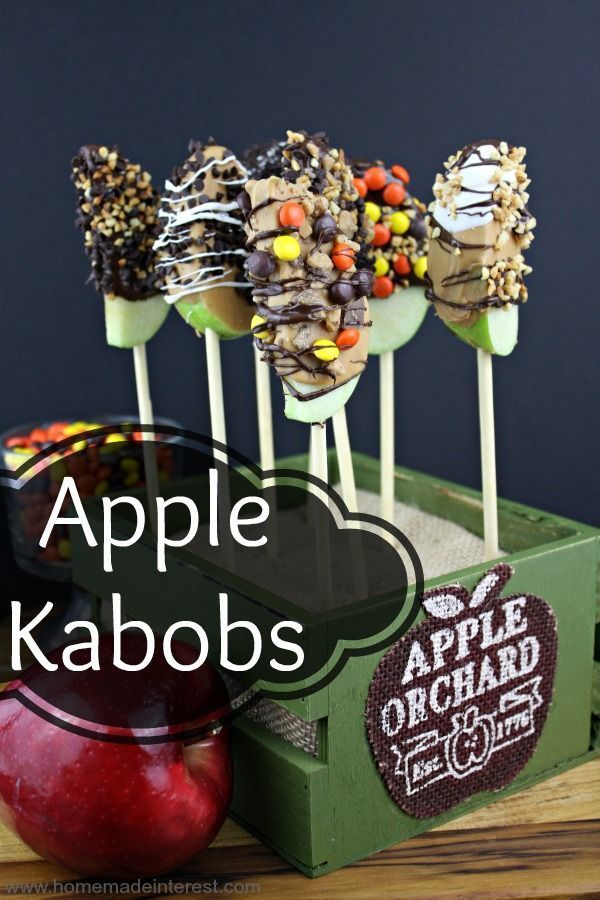Apple Kabobs are apples dipped in chocolate or caramel and then rolled in nuts and candy toppings. A perfect treat for a holiday party or classroom snack.