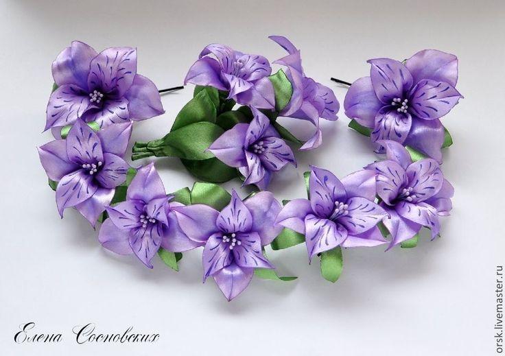 Купить Альстромерии на заколочках - сиреневый, АЛЬСТРОМЕРИЯ, дикая лилия, лилия, цветок на шпильке, цветок на невидимке