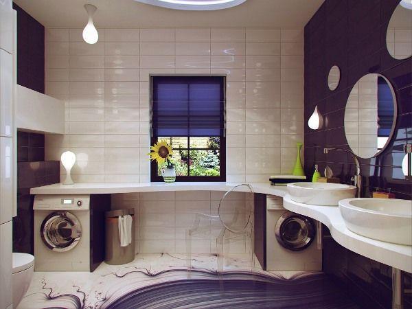 ванна, яку я хочу. Подобається питка на підлозі та стінах, великий столик, розміщення сушки та пральної машинки, освітення