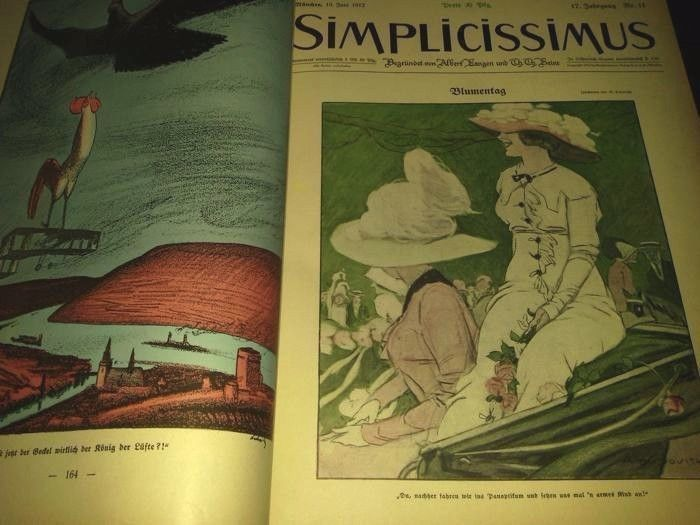 Dudovich in SIMPLICISSIMUS rivista satirica 1912/1913, volume 17 , completa .